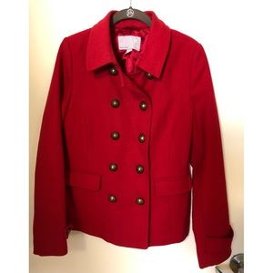 Red Militaire Pea Coat